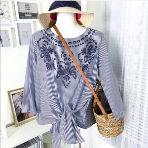 Grand & Greene Blue White Striped Embroidered Top